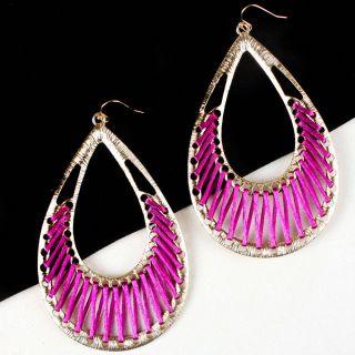 Gold Purple Boho Bohemian Design Tear Drop Dangle Hook Earrings