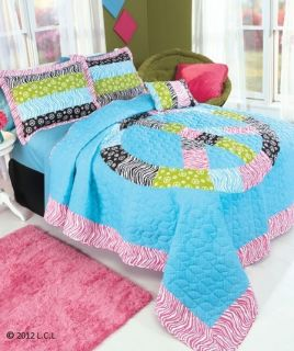 Girls Queen or Twin Size Peace Sign Zebra Print Quilt and Shams