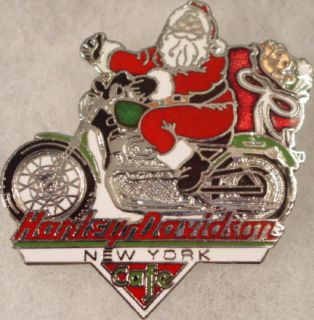 Harley Davidson Cafe New York Christmas Santa Bike Pin Motorcycle