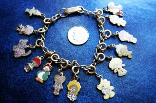 Amazing Vintage Strawberry Shortcake Enamel 13 Charm Bracelet RARE