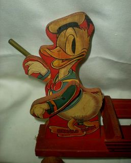 1946 Donald Duck Baton Twirler with Cart Fisher Price 400 500 Pull Toy