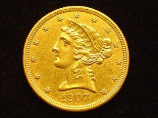 1907 D $5 00 Liberty Head Gold Half Eagle Coin Scarce