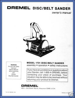 Copy Owners Manual Dremel Disc Belt Sander Model 1731