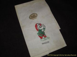1938 Walt Disney Enterprises Snow White Sneezy Kitchen Towel Louis