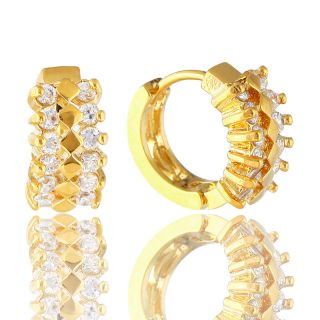Hoop Huggie Cuff White Topaz Gold GP Earrings Ear Ring 1187WHT