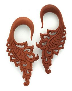 Tribal Wings Hook Flower Hanging Ear Gauge Plug Ornate Taper