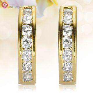 Jewelry Hoop Earings Topaz Rhinestones Gold Plated GP Earrings