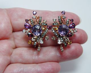 LeVian Amethyst Chocolate White Diamond Earrings 14k Pink Gold Heavy