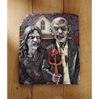 The Walking Dead Gothic Flesh Hungry Zombie Couple Pitchfork Wall