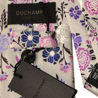 100 New Duchamp Tie Mens Jacquard Silk Silver Creme Green Pink Purple