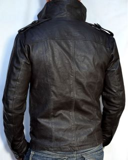 SUPERDRY Brad Mens Leather Motorcycle Jacket Beckham Biker Cut New