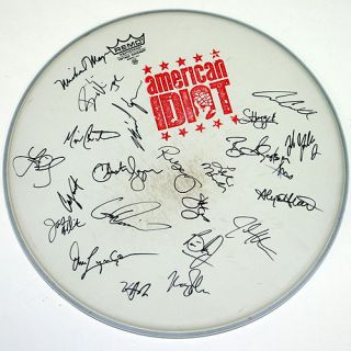 Bway American Idiot Green Day Cast Sign LG Drum Head