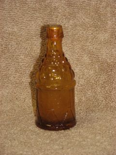 Vintage Miniature Amber / Gold Glass Bottle w/ Cork Drum & Grapes 3 1
