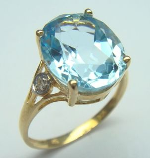 00ctw Blue Topaz Solitaire Ring Solid Yellow Gold