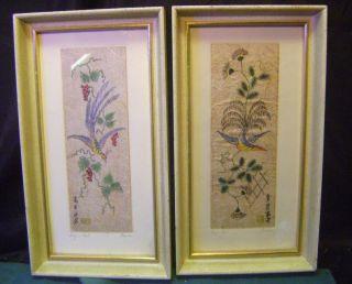 Pair Fine Rice Paper Prints Bird Flowers 13 by Hanson Silk Screen
