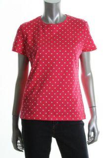 Jones New York New Pink Poka Dot Crew Neck Short Sleeves T Shirt