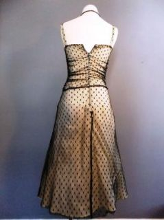 1950s 1960s Style Lace Illusion Polka Dot Dress Pinup Rockabilly Retro