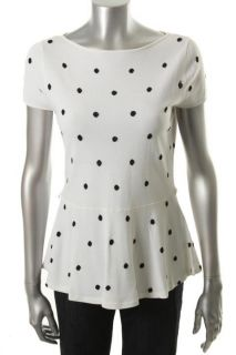 Jones New York Gramercy Park Black White Polka Dot Peplum Pullover Top