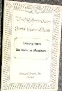Libretto Un Ballo in Maschera Verdi Italian English Opera Lyrics