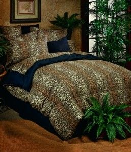 leopard 5 piece twin day bed comforter set new
