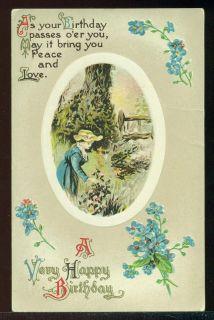 Very Happy Birthday Pretty Lady Picks Flowers Verse Vintage Postcard