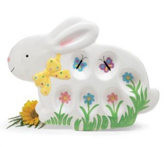 easter bunny egg plate hand painted ceramic new