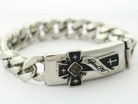 Ed Hardy Stainless Steel Cross I D Bracelet 8
