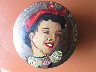 Antique Hand Painted Wooden Box Maracas Lady Marked Vtg Teak