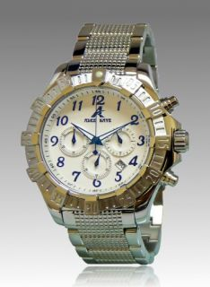 New Adee Kaye Mens Chronograph White Dial Stainless Steel Watch AK7140