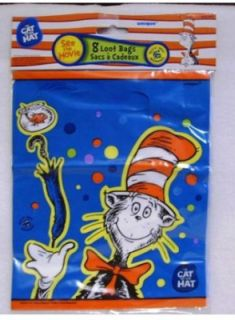 Dr Seuss Cat in the Hat Party Favor Bags 8 Gr8 4 Prizes Birthdays