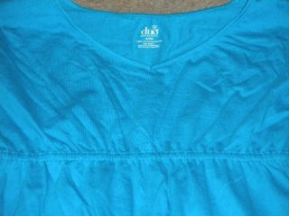 nwt duo maternity blue turquoise top shirt med m
