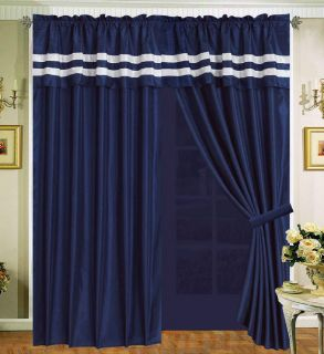 Navy Blue White Curtain Faux Silk Panel Backs Valance