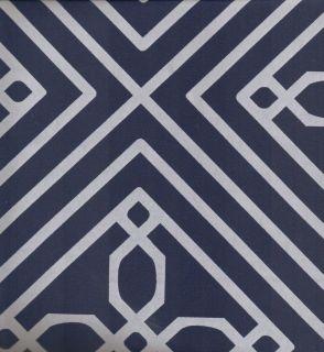 Navy Blue White Blueprint Geo Quality Luxury Fabric Shower Curtain NEW