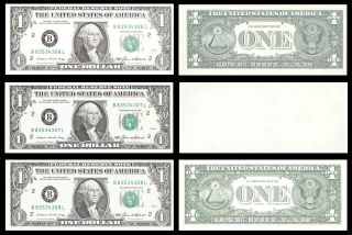 FRN 1985 ~ 3 CONSECUTIVE UNC NOTES ~ MIDDLE NOTE ERROR ~ BLANK BACK