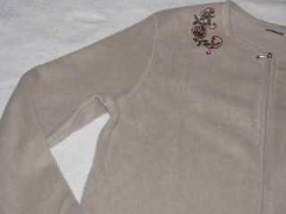 New Croft Barrow Womens Embroidered Fleece Cardigan Size XL 16 18