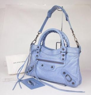 BALENCIAGA The First Blue Leather Editors Hand Bag Purse W / Strap