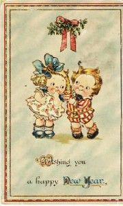 Drayton Wiedersheim Kids Mistletoe Vintage New Year Postcard VP 6044