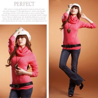 Womens Turtle Neck Sweater Bottoming Shirt Slim Fit Long Sleeve