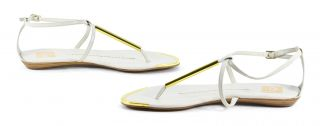 DV by Dolce Vita Archer White Stella Sandals Leather Flats Shoes 7 5
