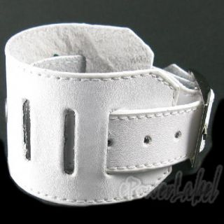 K0086 Punk Rock Leather Watch Wide Band Strap Brown Black Pink White