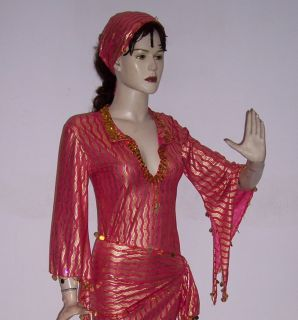 Belly Dance Baladi Saidi Galabeya Dress Costume with Hip Head Scarf