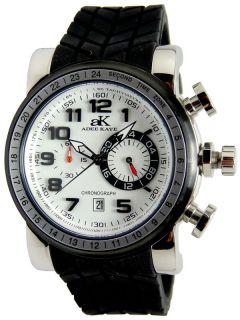 Adee Kaye Mens White Dial Chronograph Japanese Quartz Watch AK7233 M