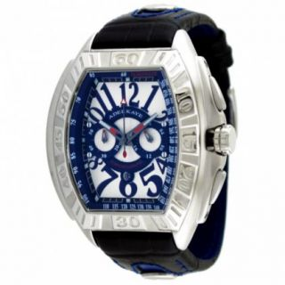 Adee Kaye Mens White Dial Oversized Big Numerals Chronograph Watch
