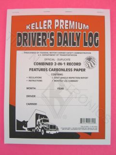 Carbonless Two in One Drivers Daily Log Book JJ Keller 705 LD
