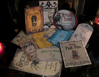 Halloween Potion Bottle Labels Party Prop Set 6 EEK Witchs Pantry EEK