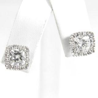 6mm Cushion Cut Moissanite Stud Earrings 14k White Gold 2 5 Carat