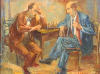 Edith Montlack Listed Female WPA Artist Chess Player Male Portrait Oil