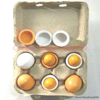 Lot of 6 Wooden Pretend Eggs with Yolk Kitchen Food Kid Children Play