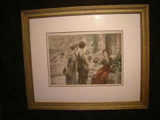 1902 FA Schwartz Signed Enameled Colored Litho Print