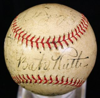 1934 Yankees Team w Babe Ruth Lou Gehrig 21 Signed OAL Baseball Ball